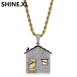 14K Gold Plated House Pendant Necklace Men Iced Out Cubic Zirconia Chains Copper Material Hip Hop Charms Jewelry