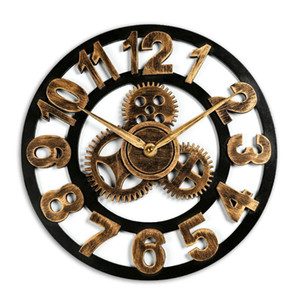 Vintage Industrial Gear Wall Clock Decorative Retro Wooded Wall Clocks Industrial Age Style Wood Clock Room Art Decor