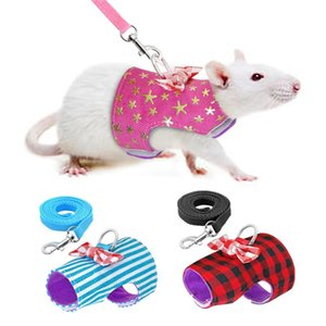 Small Pet Harness Vest and Leash Set For Ferret Guinea Pig Hamster Puppy Bowknot Chest Strap Harness Pet Supplies 4