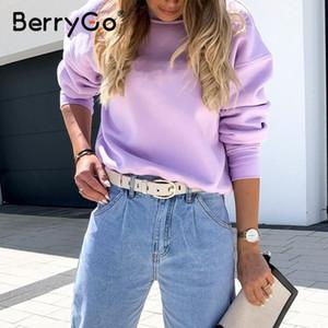 Hot Sale BerryGo Solid color round neck women's sweatshirt Casual loose women's sweatshirt Dropped shoulder sleeve comfortable sweatshirt