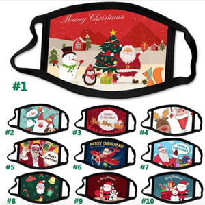 Fashion Christmas Kids Adult Face Masks Printed Xmas Cotton Cloth Face Mask Anti Dust fog Snowflake Mouth Cover Breathable Washable Reusable