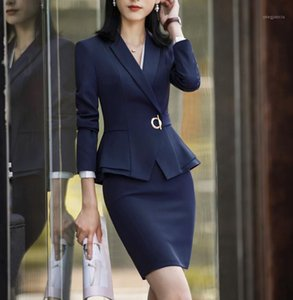 Рабочие платья костюмы офисные дамы носить элегантные формальные женщины бизнес блейзер куртка карандаш платье двух частей плюс размер формата1