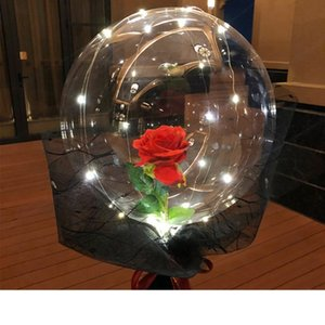 VBall LED Transparent Bobo Bouquet Rose Luminous Valentines Day Gift Balloon For Birthday Party Wedding Decor