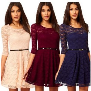 new arrive Sexy Spoon Neck 3 4 Sleeve Belt Include summer dresses casual slim Lace colorful Sakter women Dress fz2245