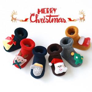 Christmas Baby antiscivolo Piano Sock 0-3 anni Bambino Cotone Babbo Piano calzini silicone antiscivolo Bambino Sock FWB1507