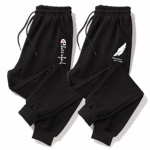 JUNSRM 2020 Sports Hommes Tendance Pieds desserrées de Pantalon sarouel Automne Black Stretch Casual