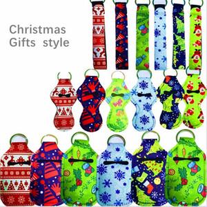 Neoprene Lanyards Christmas Key Chain Ring Holders Lipstick Case Bag Sleeve Hand Sanitizer Bottle Cover Purse Bag Pendants Gifts ToysE102401