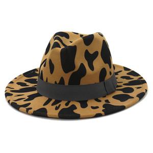 Cow print Felt Fedora Hat Women Men Wide Brim Hats Top Cap Man Woman Jazz Panama Hat Lover Caps mens Trilby winter Fashion Accessories NEW