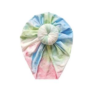 2020Infant Yenidoğan Bebek Kız Erkek çörek Şapka Turban Cap Çocuk Bebek Burgulu Caps Beanie Bonnet Şapkalar Merkez Kapağı Eşarp Wrap Tie-boyalı