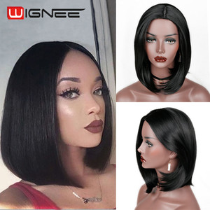 Wignee Natural Black Bob Hair Natural Temperature Synthetic Women Wigs Glueless Cosplay Hair Wigs For Africa Americans Wigs
