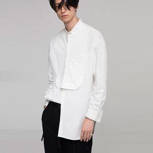 2020 erkek Badun Qishi Gömlek Kol Bölüm Uzun Pamuk Dikiş Rahat, Düzenli, Katı Yaka Tek Göğüslü Gömlek Teac