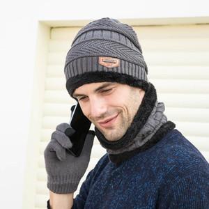 hombre marca con bufanda guantes del sombrero del juego Three-Piece Set invierno caliente femeninos sombreros bufandas unisex envío de la gota