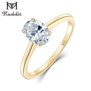 Kuololit желтого золота 100% Природные Moissanite Gemstone Кольца для женщин ручной работы Обручальные кольца невесты Подарочные Fine Jewelry LJ201009