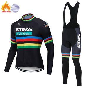 Winter 2020 STRAVA Long Sleeve Cycling Jersey Bike Bib trousers Men uniform riding clothes Thermal Fleece Bicycling clothing Set