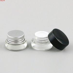 30 x 3G Traval Kleine Glascreme Make up Glas mit Aluminiumdeckeln Weiß PE Pad 1 / 10z Kosmetikbehälter Verpackung Jargood Produkt