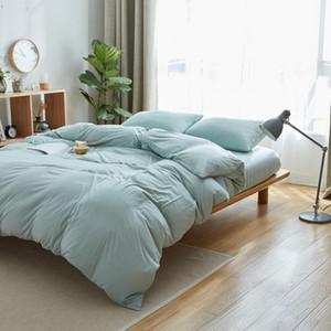 مجموعات الفراش 100٪ القطن سرير الكتان الملكة اليورو مزدوجة 150x200 سنتيمتر ورقة مجهزة 4 قطع جيرسي محبوك لحاف يغطي الباستيل لون حاف