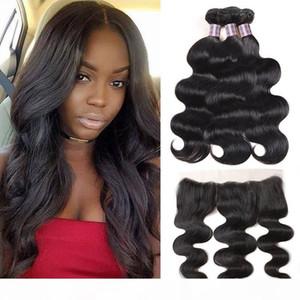 Indian Body Wave 3Bundles With 13*4 Lace Frontal Brazilian Peruvian Malaysian Virgin Hair Bundles with Closure Human Hair Extensions