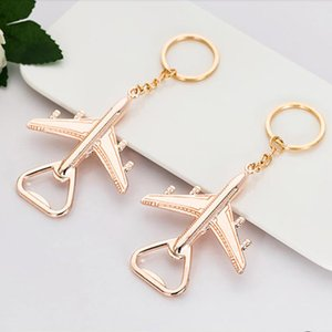 400pcs lot Keychain bottle Beer Opener gole key Chain Airplane Ring Promotional Golden Creative Wedding Guest party Favor