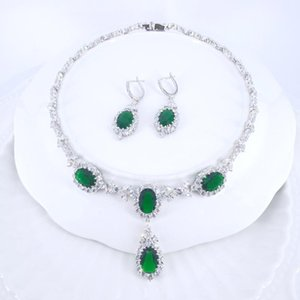 2020 new fashion green blue water drop CZ zircon wedding bride banquet party dress necklace earring jewelry set free shipping