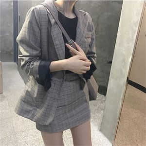korea chic blazer coat plaid mini skirt suit women jacket suit office lady jacket high waist skirt 2 piece set women 201012