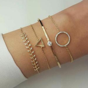 4 PCS Women New Fashion Crystal Triangle Circle Leaf Bracelet Set Gold Chain Charm & Bangle Party Wedding Jewelry Gifts