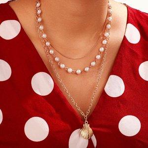NUEVO 2020 FASTY INS Vintage Cadena Colgante Chóbor Pearl Shell Simple Scallop Necklace para mujer Girls regalos Partido