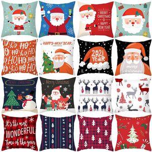 45cm Cartoon Animal Pattern Polyester Cushion Cover Christmas Style Pillow Cover Xmas Home Sofa Car Decorative Throw Pillowcase