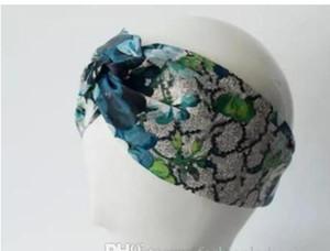 Designer 100% Seda Cross Headband Mulheres Menina Elastic Hair Bands Retro Turbante Headwraps Presentes Flores Hummingbird Orchid