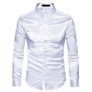 Мужская белая шелковая рубашка 2020 мода шелковый сатин мужская социальная рубашка повседневная стройная подходит с длинным рукавом платье рубашки мужской камиса masculina1