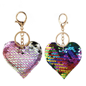 Sequin Heart Keychain Colorful Love Heart Pendant Charm Keychains Valentine's Day Gift for Party Decaration Supplies