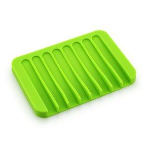 Fashion Silicone Soap Trates Placa de placa Tray Erainger Ducha Waterfal para baño Cocina Contador 16 colores HWB2706