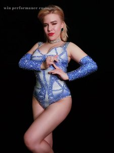 BLUE rhinstone bodysuit prom bar women singer costume birthday celebrate association group performance show exhibition model