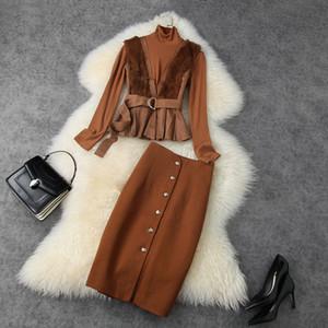 Vêtements pour femmes européennes et américaines 2020 hiver nouveau style pull à manches longues de laine gilet de laine jupes de mode costumes de mode