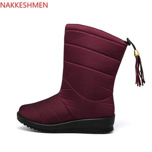 2020 Winter Classic Plus Size neve Botas Slanted borlas das mulheres calcanhar sapatos impermeáveis Non-Slip Duplas de algodão acolchoado