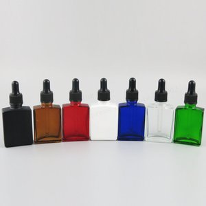 200 x 30ml Square Flat glass with black pipette dropper 1oz white clear blue e liquid container, bottle