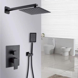 블랙 샤워 세트 욕실 8 인치 레인 샤워 헤드 수도꼭지 샤워 시스템 홈통 분배기 믹서 휴대용 스프레이