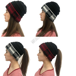 Adults Knit Hats Woolen Winter Beanies INS Designer Plaid Cuff Patchwork Crochet Hat Brand Grids Matching Knitted Knitting Skull Cap D102709