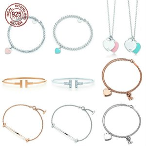 2021 Blue Heart Shaped Bracelet & Bangle 100% 925 Sterling Silver Pink Pendant Simple Tif Design For Women Elegant Fine Jewelry 77