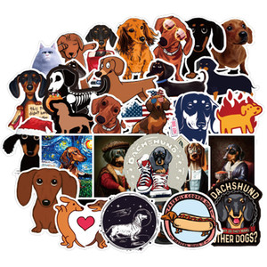 50pcs Lot Dachshund Dog Sticker Waterproof For on Skateboard Hydro Fask Laptop Suitcase Cute Animal Cartoon Stickers
