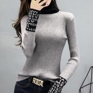 # 3804 suéter básico apertado mulheres fina de manga comprida mulheres blusas e pulôveres geladas de tartleneck slim suéteres senhoras de malha moda y200910