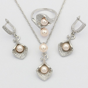 Morning Glory with Pink Pearl 925 Sterling Silver Bridal Jewelry Sets for Women Wedding Pendant Drop Earrings Rings Necklace Set 200923