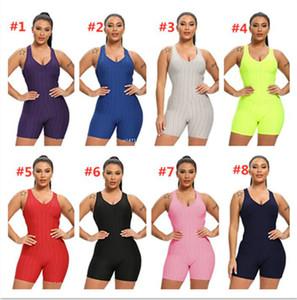Kadınlar Kolsuz Bodysuit Tulum Şort tulum Tek Parça Pantolon Seksi Backless tulumları Spor Salonu Yoga Spor Giyim S-XL F92804