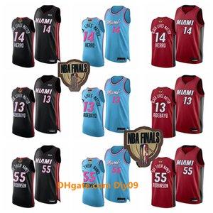 Finales Hommes 13 Bam Adebayo 14 Tyler HerroNBA MiamiChaleurJersey 55 Duncan Robinson Lives Noir Blue Matter Red Basketball Maillots