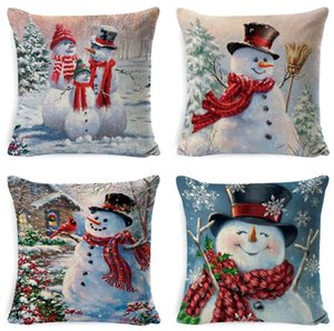 DHL Christmas Pillow Covers 18x18 Inch, Decorative Snowman Pillow Covers, Linen Christmas Throw Pillow case for Sofa Couch, Bed and Car