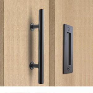 304 الفولاذ المقاوم للصدأ انزلاق باب الحظيرة سحب مقبض الخشب مقبض الباب، مقابض الأسود الباب للابواب الداخلية