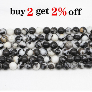 1strand Lot Natural Stone Black White Zebra Jaspers Bead Round Gem Loose Spacer Beads For Jewelry Making Findings Diy Bracelet H bbydat