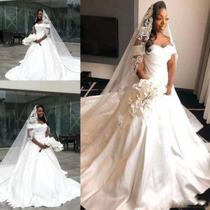 South African Off the Shoulder Plus Size Wedding Dresses 2021 Court Train Satin A Line Wedding Bridal Gowns
