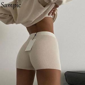 Sampic Casual Fashion White Black High Waist Women Knitted Biker Bodycon Shorts Summer Cotton Sweat Mini Sexy Shorts Femme