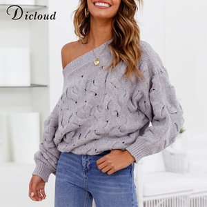 DICLOUD Sexy Women Off Shoulder Pullovers Autumn Winter Knitted Sweater Ladies Long Sleeve Oversized Jumper Female Clothes 201006