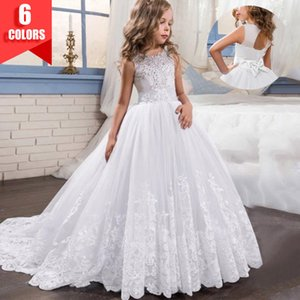 2020 Christmas White Bridesmaid Kids Clothes Girls Children Long Princess Party Wedding Dress 14 10 12 Years